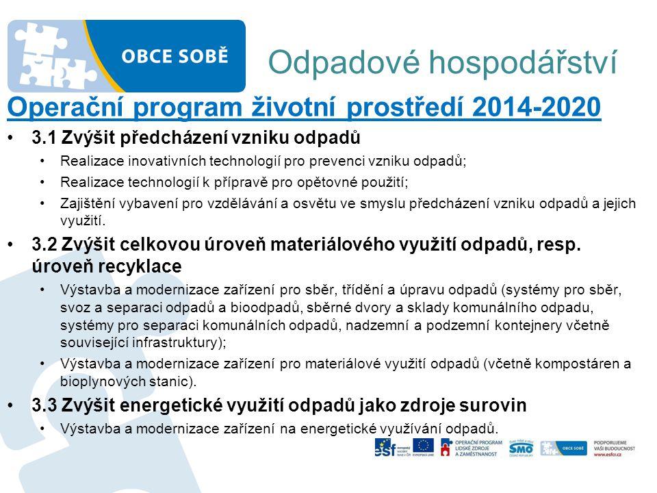 Odpadové hospodářství Operační program životní prostředí 2014-2020 •3.1 Zvýšit předcházení vzniku odpadů •Realizace inovativních technologií pro preve