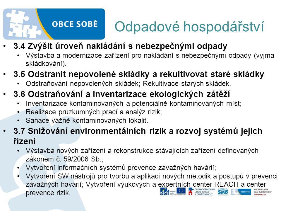 Odpadové hospodářství •3.4 Zvýšit úroveň nakládání s nebezpečnými odpady •Výstavba a modernizace zařízení pro nakládání s nebezpečnými odpady (vyjma s