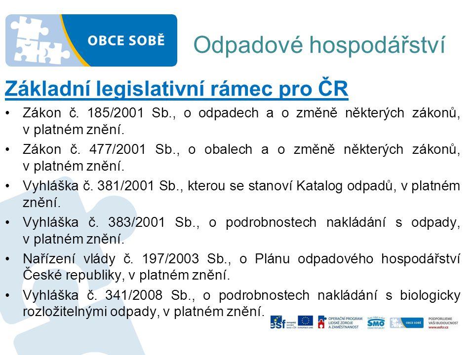 Odpadové hospodářství Základní legislativní rámec pro ČR •Zákon č. 185/2001 Sb., o odpadech a o změně některých zákonů, v platném znění. •Zákon č. 477