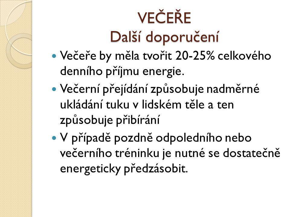VEČEŘE Další doporučení  Večeře by měla tvořit 20-25% celkového denního příjmu energie.  Večerní přejídání způsobuje nadměrné ukládání tuku v lidské