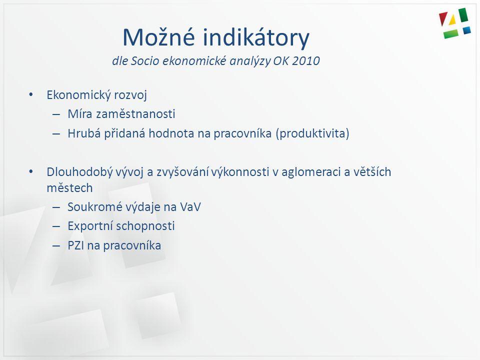 Možné indikátory dle Socio ekonomické analýzy OK 2010 • Ekonomický rozvoj – Míra zaměstnanosti – Hrubá přidaná hodnota na pracovníka (produktivita) •