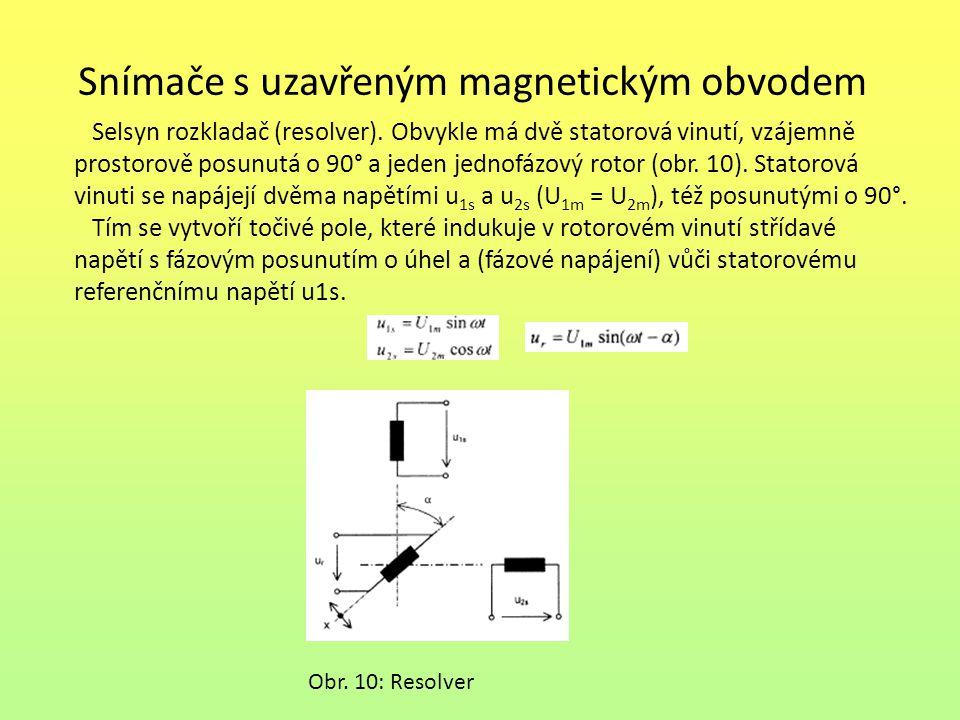 Snímače s uzavřeným magnetickým obvodem Selsyn rozkladač (resolver). Obvykle má dvě statorová vinutí, vzájemně prostorově posunutá o 90° a jeden jedno