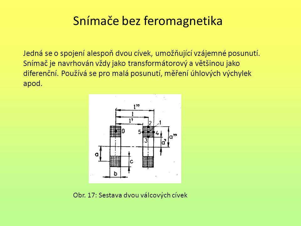 Snímače bez feromagnetika Jedná se o spojení alespoň dvou cívek, umožňující vzájemné posunutí. Snímač je navrhován vždy jako transformátorový a většin