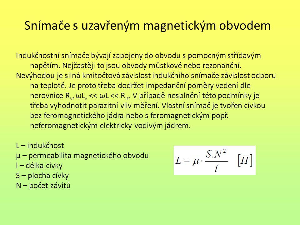 Snímače s uzavřeným magnetickým obvodem Působením neelektrické veličiny dochází k vzájemnému posunutí těchto částí nebo ke změně jejich elektrických vlastností.