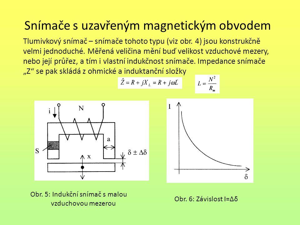 Snímače s uzavřeným magnetickým obvodem Tlumivkový snímač – snímače tohoto typu (viz obr. 4) jsou konstrukčně velmi jednoduché. Měřená veličina mění b