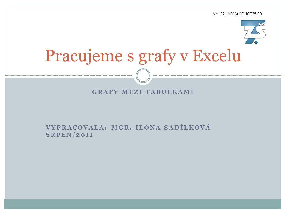 GRAFY MEZI TABULKAMI VYPRACOVALA: MGR. ILONA SADÍLKOVÁ SRPEN/2011 Pracujeme s grafy v Excelu VY_32_INOVACE_ICT35.03