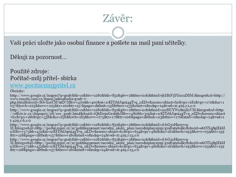 Závěr: Vaši práci uložte jako osobní finance a pošlete na mail paní učitelky. Děkuji za pozornost… Použité zdroje: Počítač-můj přítel- sbírka www.poci