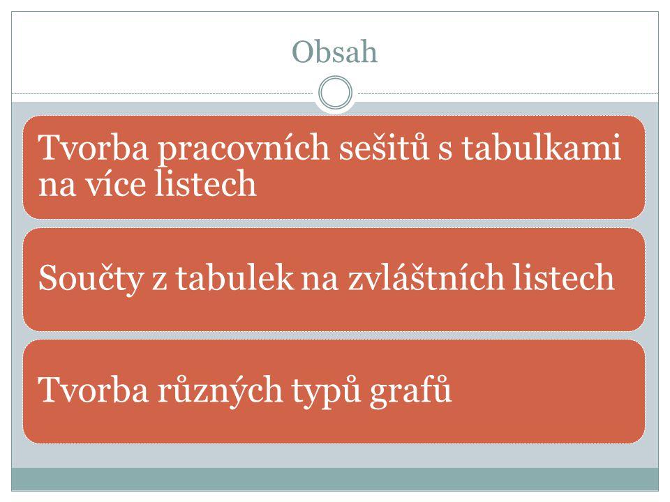 Obsah Tvorba pracovních sešitů s tabulkami na více listech Součty z tabulek na zvláštních listechTvorba různých typů grafů