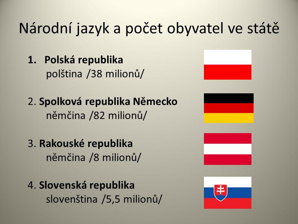 Národní jazyk a počet obyvatel ve státě 1.Polská republika polština /38 milionů/ 2. Spolková republika Německo němčina /82 milionů/ 3. Rakouské republ