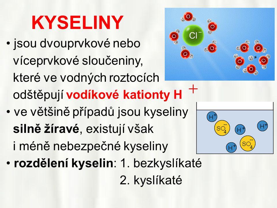 KYSELINY • jsou dvouprvkové nebo víceprvkové sloučeniny, které ve vodných roztocích odštěpují vodíkové kationty H • ve většině případů jsou kyseliny silně žíravé, existují však i méně nebezpečné kyseliny • rozdělení kyselin: 1.
