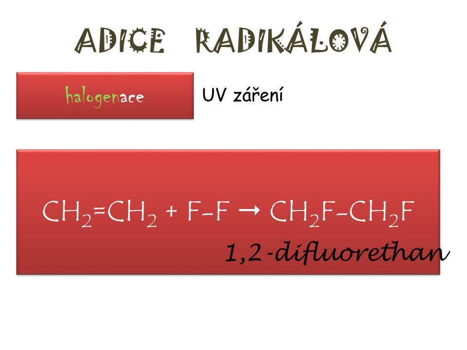 ADICE RADIKÁLOVÁ h_ _ _ _ _ _ _ _e – UV záření ethen (ethylen) reaguje s fluorem ………….. + ……………  ……………….. – název produktu halogenace CH 2 =CH 2 + F-
