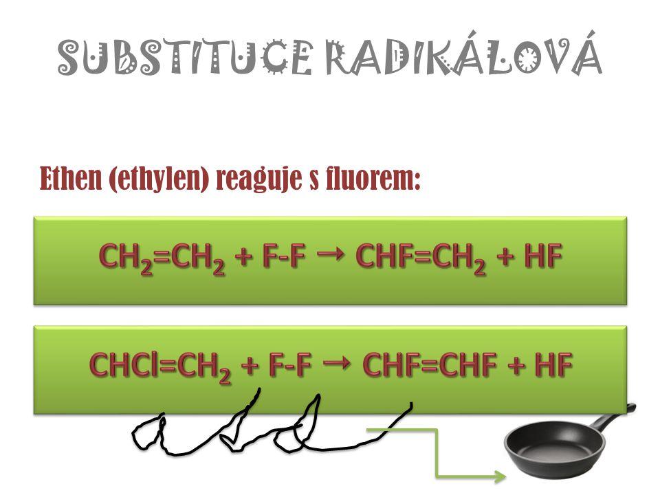 SUBSTITUCE RADIKÁLOVÁ Ethen (ethylen) reaguje s fluorem: ……….. + ……………  ………….. – název produktu