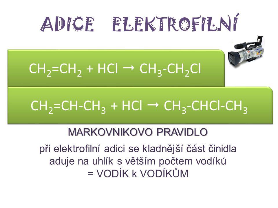 ADICE ELEKTROFILNÍ ethen + HCl ………… +..………  ……… – název produktu propen (propylen) + HCl ………… +..………  ……… – název produktu MARKOVNIKOVO PRAVIDLO při