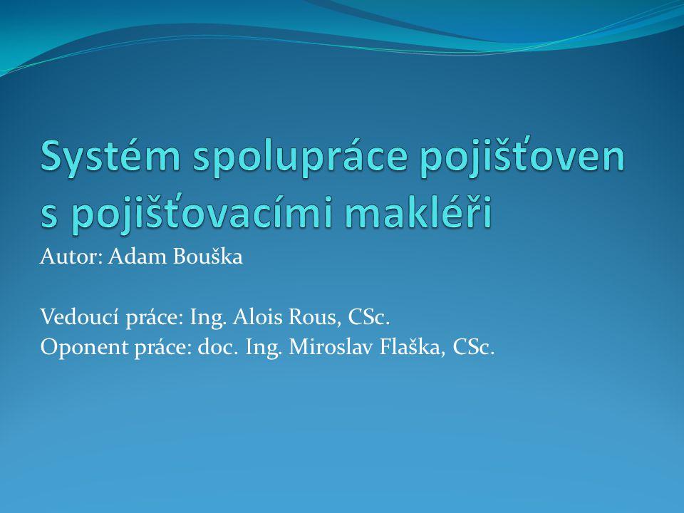 Autor: Adam Bouška Vedoucí práce: Ing. Alois Rous, CSc. Oponent práce: doc. Ing. Miroslav Flaška, CSc.