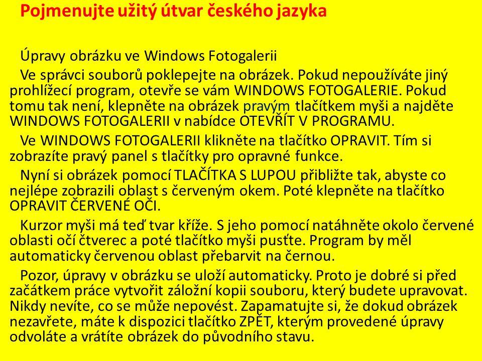 Pojmenujte užitý útvar českého jazyka Úpravy obrázku ve Windows Fotogalerii Ve správci souborů poklepejte na obrázek.