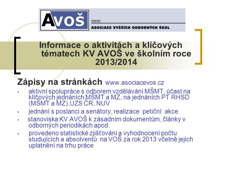 Informace o aktivitách a klíčových tématech KV AVOŠ ve školním roce 2013/2014 Zápisy na stránkách www.asociacevos.cz • aktivní spolupráce s odborem vz