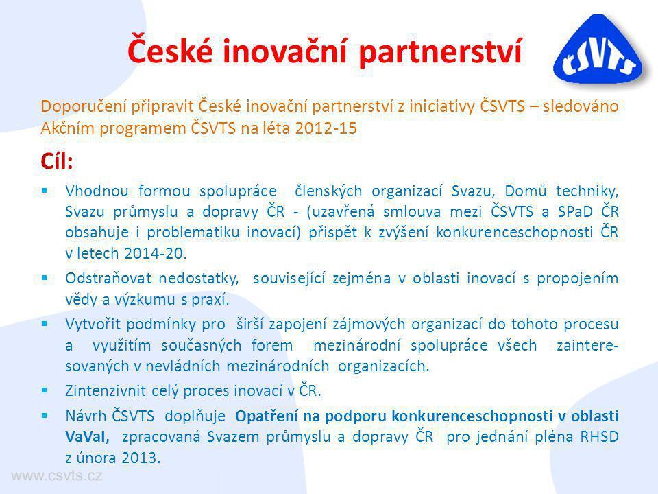 České inovační partnerství Doporučení připravit České inovační partnerství z iniciativy ČSVTS – sledováno Akčním programem ČSVTS na léta 2012-15 Cíl: