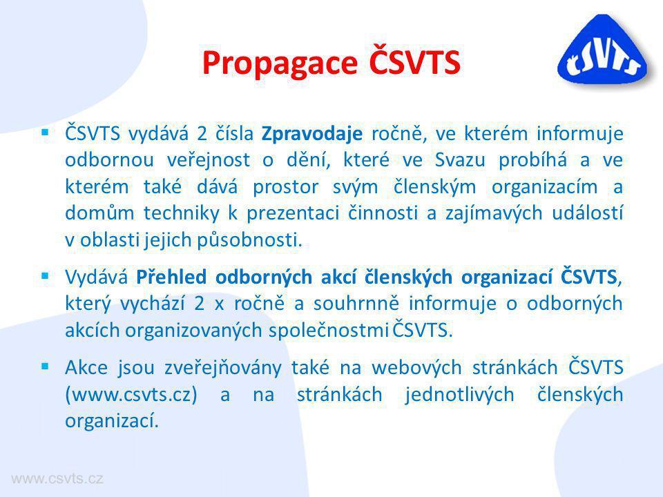 Propagace ČSVTS  ČSVTS vydává 2 čísla Zpravodaje ročně, ve kterém informuje odbornou veřejnost o dění, které ve Svazu probíhá a ve kterém také dává prostor svým členským organizacím a domům techniky k prezentaci činnosti a zajímavých událostí v oblasti jejich působnosti.