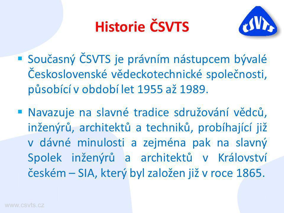 Historie ČSVTS  Současný ČSVTS je právním nástupcem bývalé Československé vědeckotechnické společnosti, působící v období let 1955 až 1989.  Navazuj