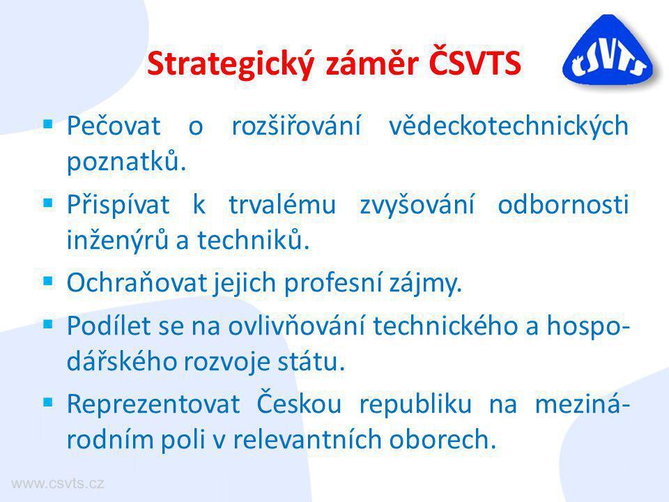 Strategický záměr ČSVTS  Pečovat o rozšiřování vědeckotechnických poznatků.  Přispívat k trvalému zvyšování odbornosti inženýrů a techniků.  Ochraň