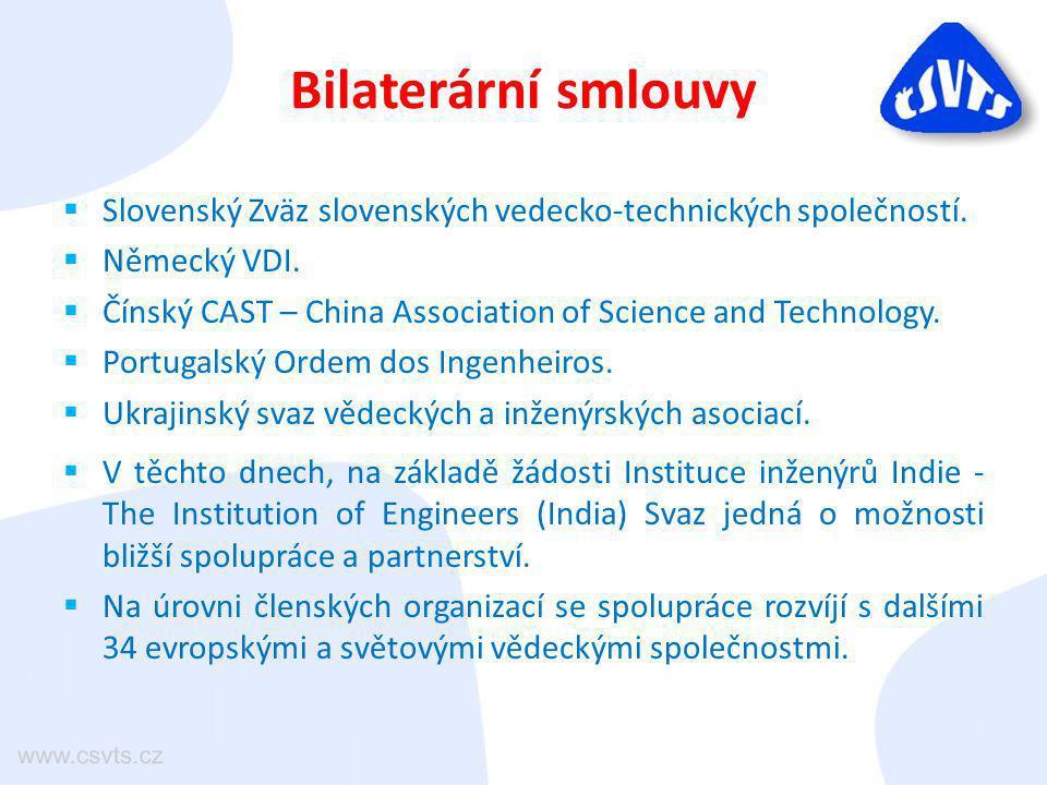 Bilaterární smlouvy  Slovenský Zväz slovenských vedecko-technických společností.  Německý VDI.  Čínský CAST – China Association of Science and Tech
