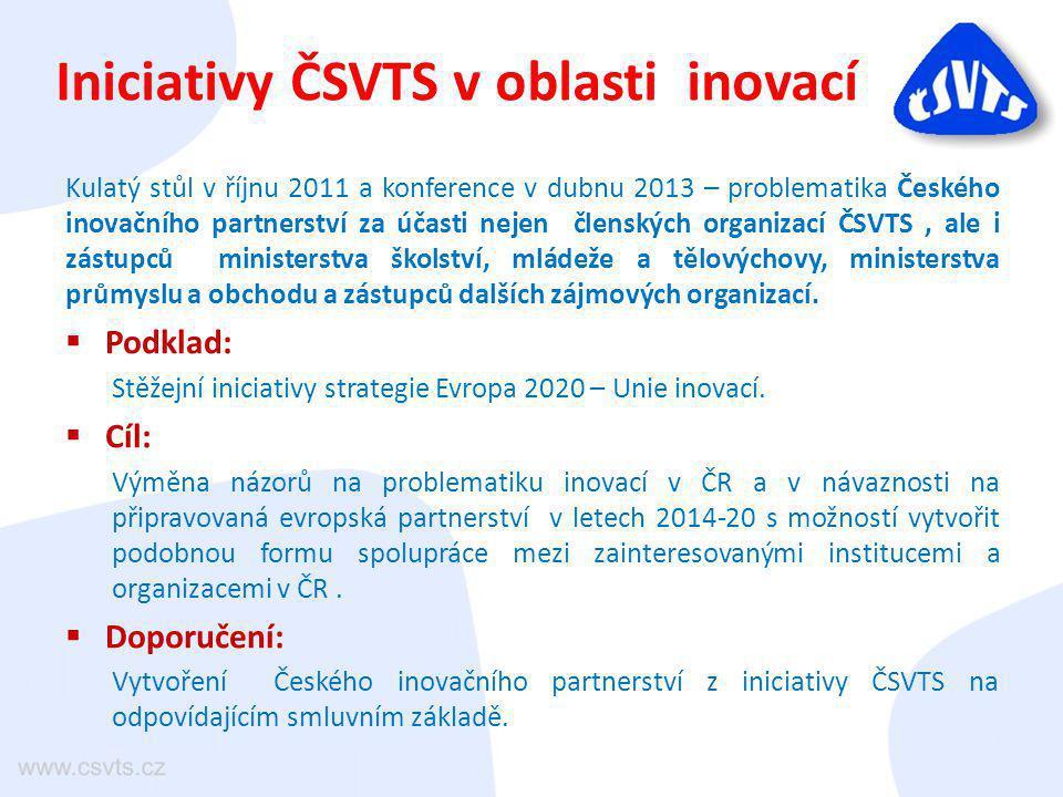 Iniciativy ČSVTS v oblasti inovací Kulatý stůl v říjnu 2011 a konference v dubnu 2013 – problematika Českého inovačního partnerství za účasti nejen čl
