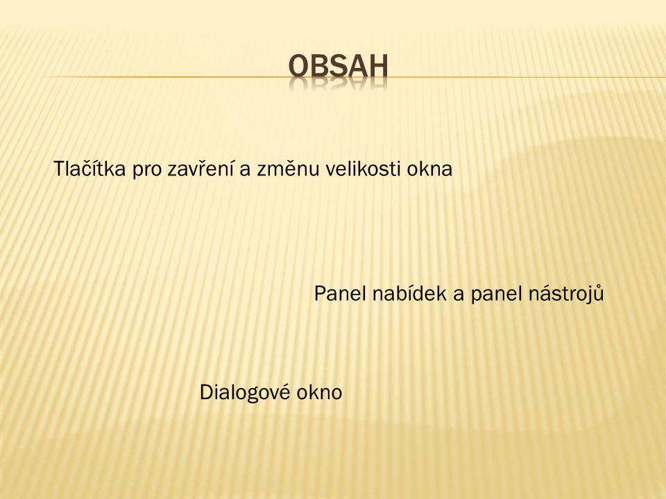 Tlačítka pro zavření a změnu velikosti okna Panel nabídek a panel nástrojů Dialogové okno