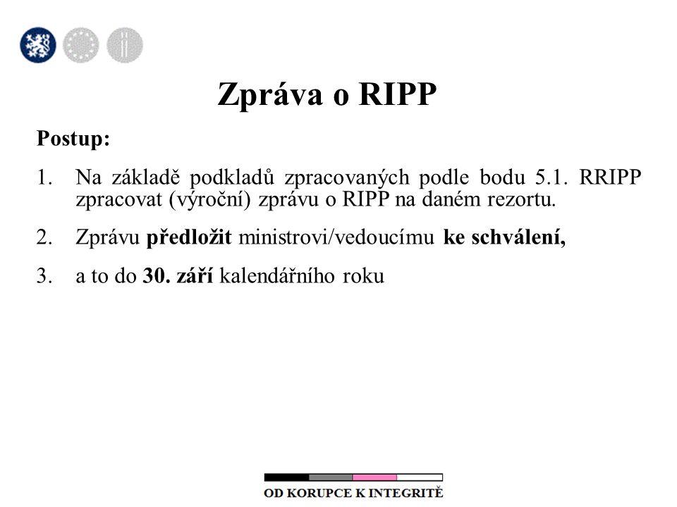 Zpráva o RIPP Postup: 1.Na základě podkladů zpracovaných podle bodu 5.1.
