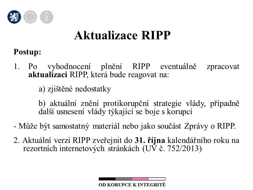 Aktualizace RIPP Postup: 1.Po vyhodnocení plnění RIPP eventuálně zpracovat aktualizaci RIPP, která bude reagovat na: a) zjištěné nedostatky b) aktuální znění protikorupční strategie vlády, případně další usnesení vlády týkající se boje s korupcí - Může být samostatný materiál nebo jako součást Zprávy o RIPP.