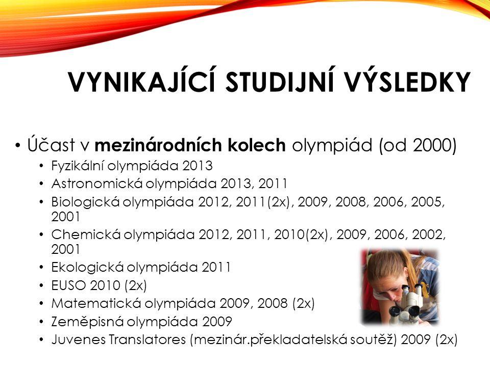 VYNIKAJÍCÍ STUDIJNÍ VÝSLEDKY • Účast v mezinárodních kolech olympiád (od 2000) • Fyzikální olympiáda 2013 • Astronomická olympiáda 2013, 2011 • Biologická olympiáda 2012, 2011(2x), 2009, 2008, 2006, 2005, 2001 • Chemická olympiáda 2012, 2011, 2010(2x), 2009, 2006, 2002, 2001 • Ekologická olympiáda 2011 • EUSO 2010 (2x) • Matematická olympiáda 2009, 2008 (2x) • Zeměpisná olympiáda 2009 • Juvenes Translatores (mezinár.překladatelská soutěž) 2009 (2x)