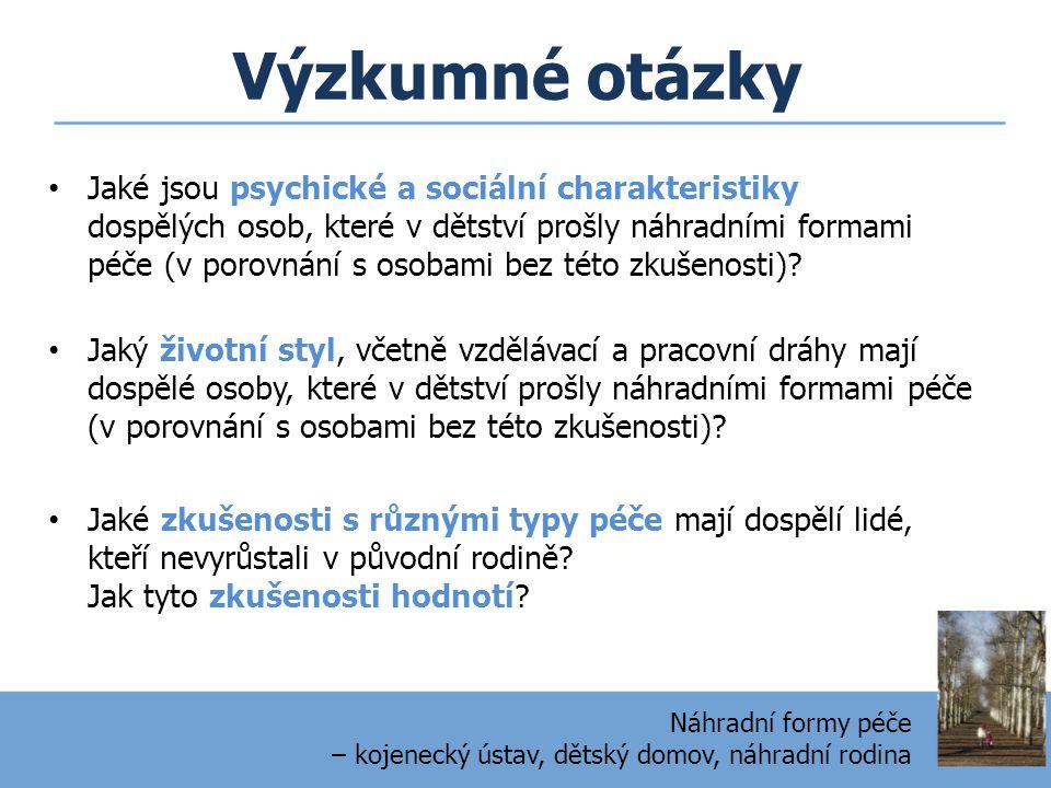Výzkumné otázky • Jaké jsou psychické a sociální charakteristiky dospělých osob, které v dětství prošly náhradními formami péče (v porovnání s osobami