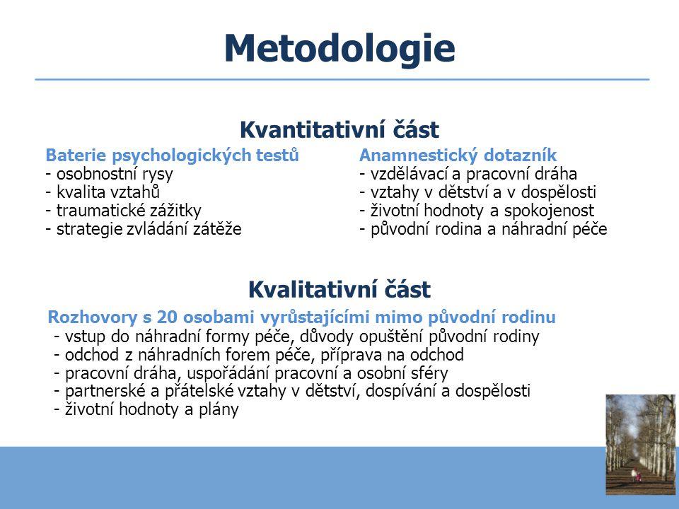 Metodologie Kvantitativní část Baterie psychologických testůAnamnestický dotazník - osobnostní rysy- vzdělávací a pracovní dráha - kvalita vztahů- vzt