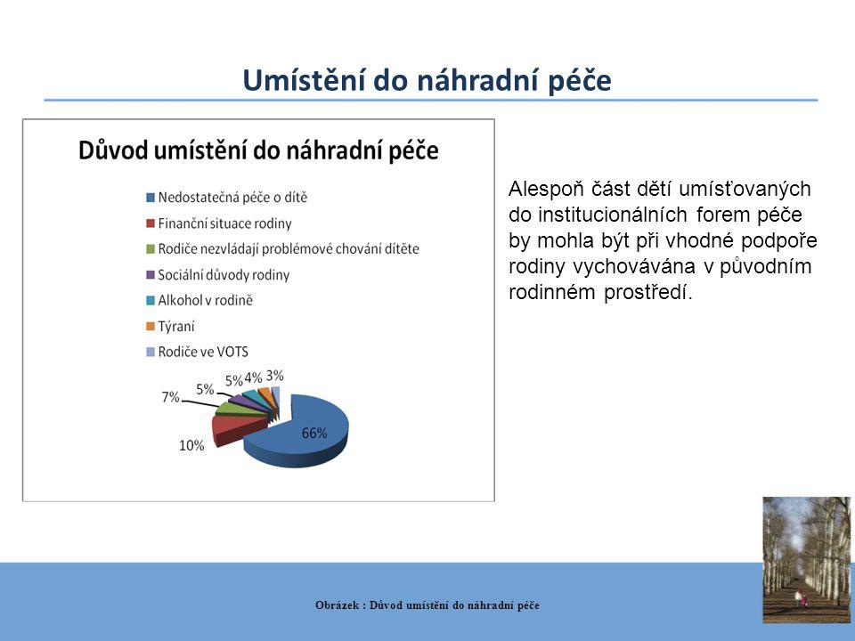 Umístění do náhradní péče Obrázek : Důvod umístění do náhradní péče Alespoň část dětí umísťovaných do institucionálních forem péče by mohla být při vh