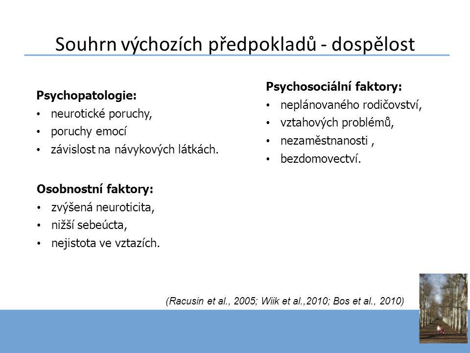 Souhrn výchozích předpokladů - dospělost Psychosociální faktory: • neplánovaného rodičovství, • vztahových problémů, • nezaměstnanosti, • bezdomovectv