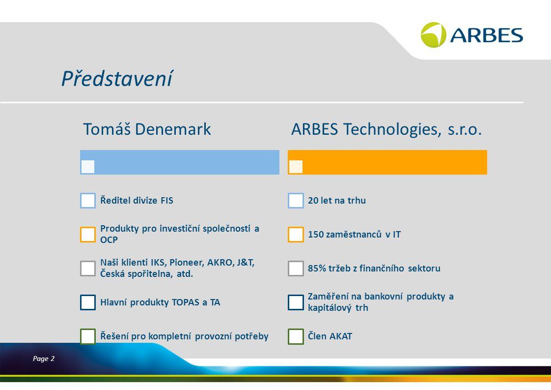 Page 2 Představení Tomáš Denemark Ředitel divize FIS Produkty pro investiční společnosti a OCP Naši klienti IKS, Pioneer, AKRO, J&T, Česká spořitelna, atd.
