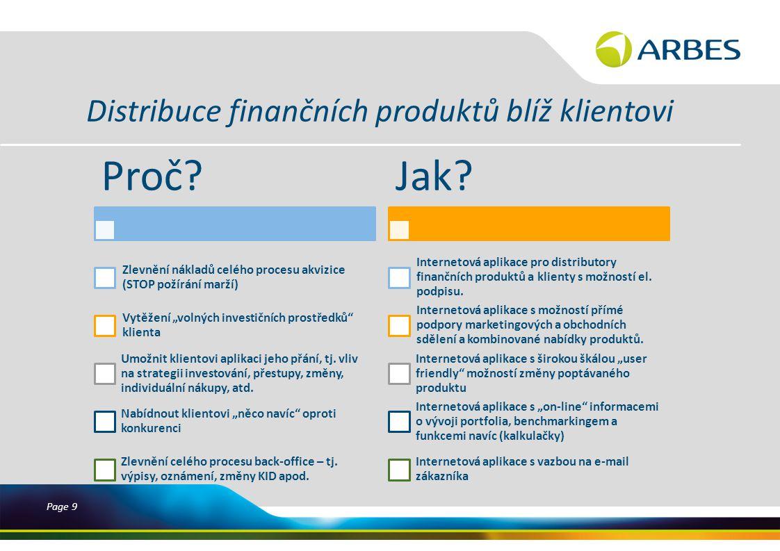 Page 9 Distribuce finančních produktů blíž klientovi Proč.