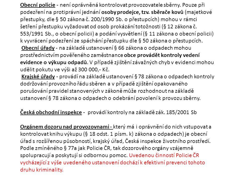 Obecní policie - není oprávněná kontrolovat provozovatele sběrny.