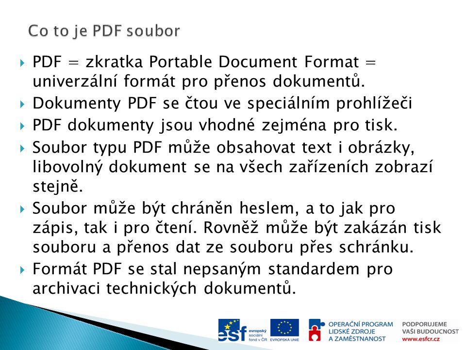  PDF = zkratka Portable Document Format = univerzální formát pro přenos dokumentů.