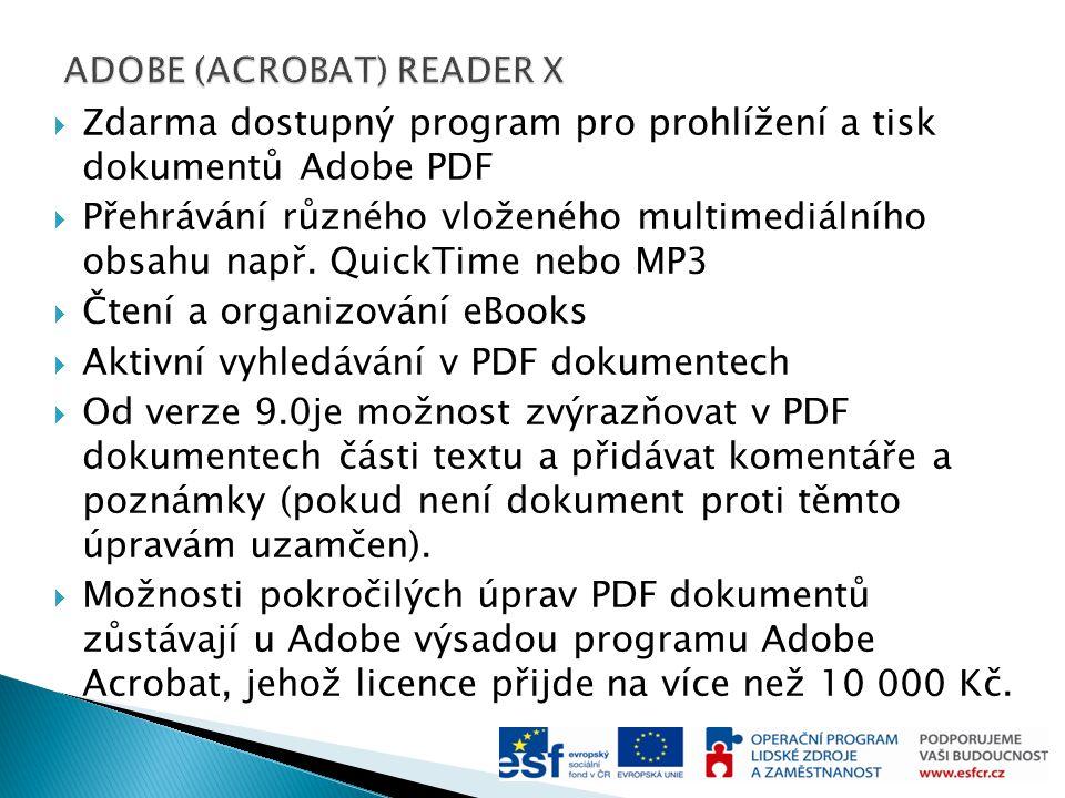  Zdarma dostupný program pro prohlížení a tisk dokumentů Adobe PDF  Přehrávání různého vloženého multimediálního obsahu např.