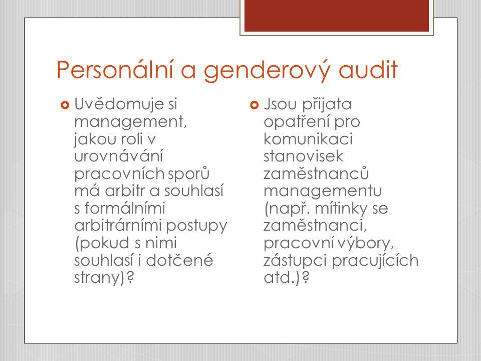Personální a genderový audit  Uvědomuje si management, jakou roli v urovnávání pracovních sporů má arbitr a souhlasí s formálními arbitrárními postupy (pokud s nimi souhlasí i dotčené strany).