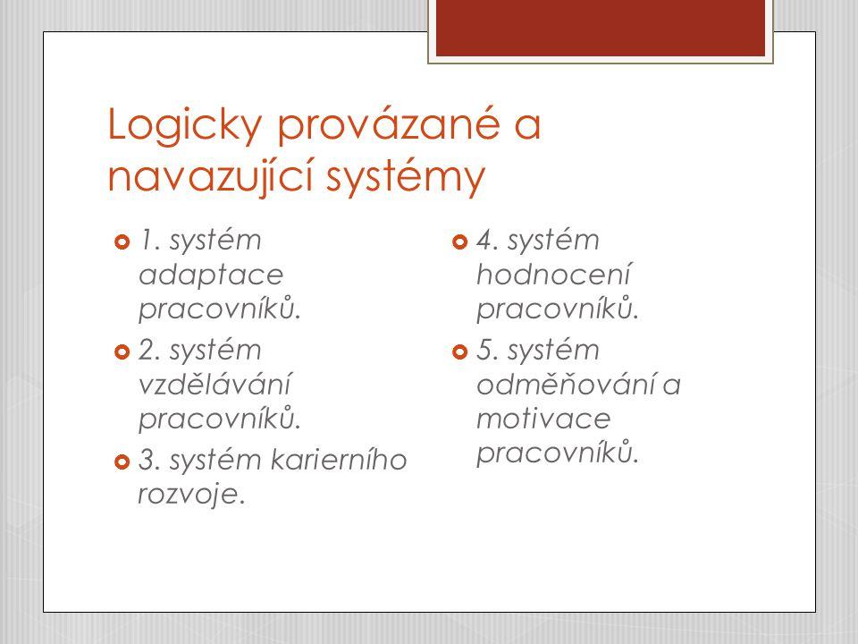 Logicky provázané a navazující systémy  1. systém adaptace pracovníků.  2. systém vzdělávání pracovníků.  3. systém karierního rozvoje.  4. systém