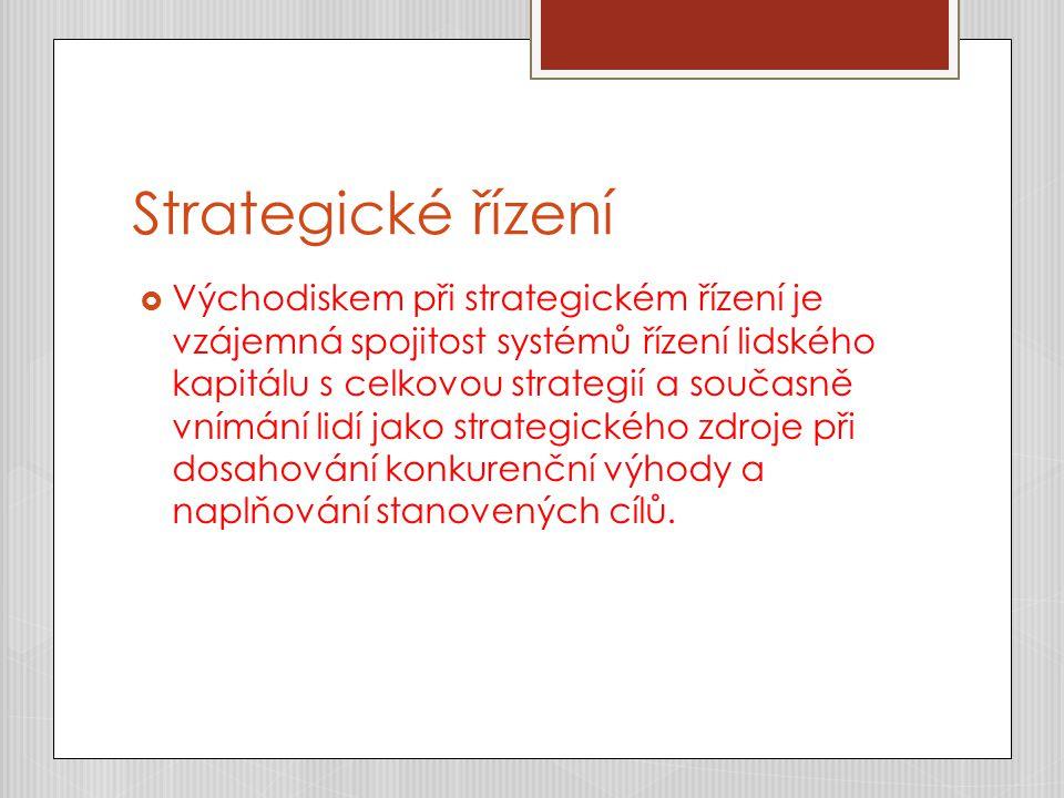 Strategické řízení  Východiskem při strategickém řízení je vzájemná spojitost systémů řízení lidského kapitálu s celkovou strategií a současně vnímání lidí jako strategického zdroje při dosahování konkurenční výhody a naplňování stanovených cílů.