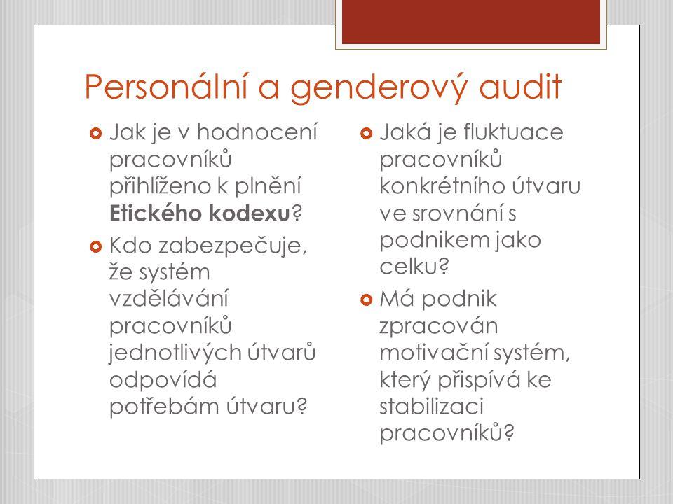 Personální a genderový audit  Jak je v hodnocení pracovníků přihlíženo k plnění Etického kodexu ?  Kdo zabezpečuje, že systém vzdělávání pracovníků