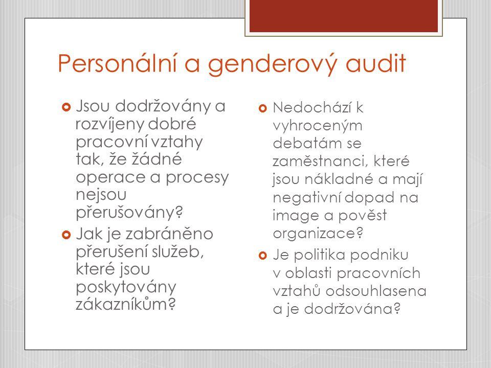Personální a genderový audit  Jsou dodržovány a rozvíjeny dobré pracovní vztahy tak, že žádné operace a procesy nejsou přerušovány?  Jak je zabráněn