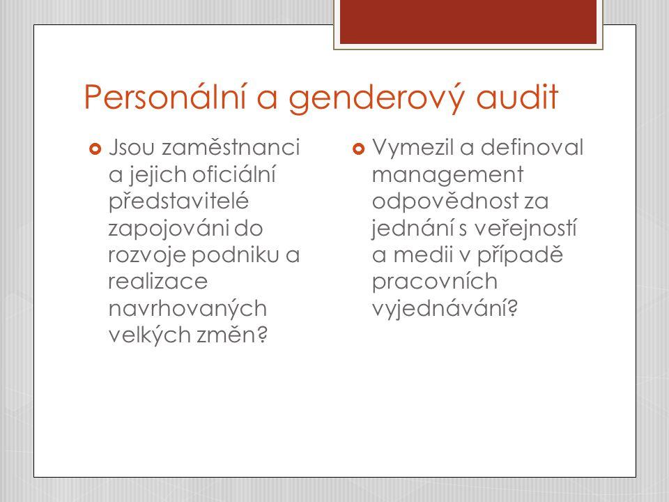 Personální a genderový audit  Jsou zaměstnanci a jejich oficiální představitelé zapojováni do rozvoje podniku a realizace navrhovaných velkých změn.