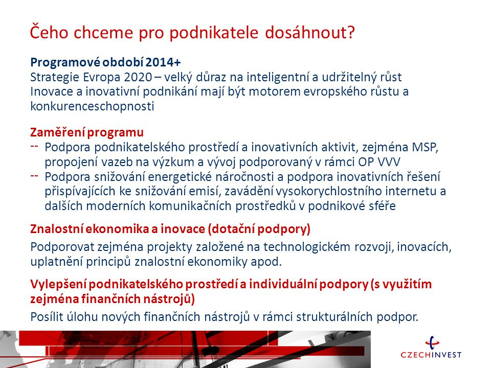 Čeho chceme pro podnikatele dosáhnout? Programové období 2014+ Strategie Evropa 2020 – velký důraz na inteligentní a udržitelný růst Inovace a inovati