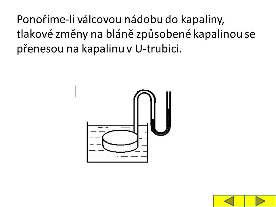 Ponoříme-li válcovou nádobu do kapaliny, tlakové změny na bláně způsobené kapalinou se přenesou na kapalinu v U-trubici.