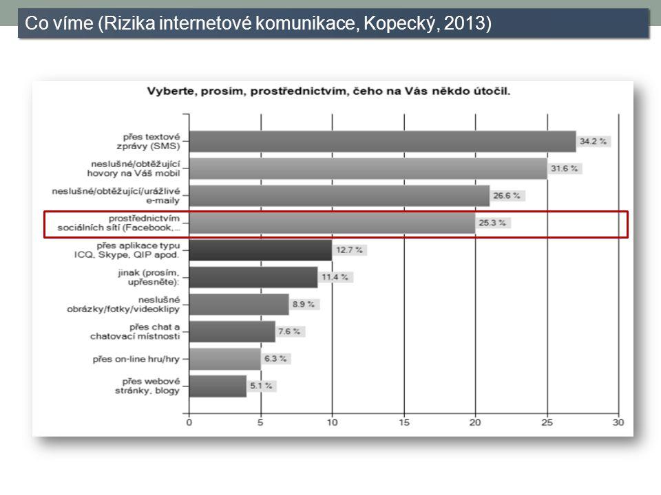 Co víme (Rizika internetové komunikace, Kopecký, 2013)