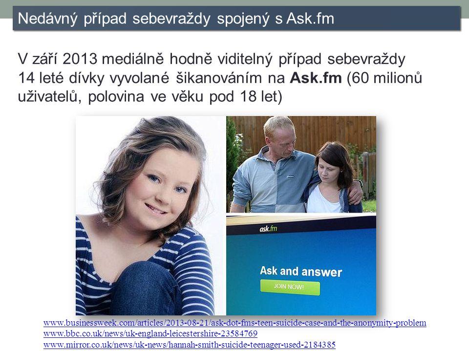 Nedávný případ sebevraždy spojený s Ask.fm V září 2013 mediálně hodně viditelný případ sebevraždy 14 leté dívky vyvolané šikanováním na Ask.fm (60 milionů uživatelů, polovina ve věku pod 18 let) www.businessweek.com/articles/2013-08-21/ask-dot-fms-teen-suicide-case-and-the-anonymity-problem www.bbc.co.uk/news/uk-england-leicestershire-23584769 www.mirror.co.uk/news/uk-news/hannah-smith-suicide-teenager-used-2184385