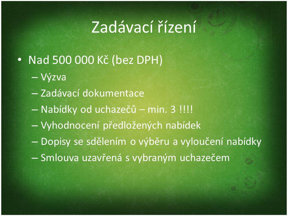 Zadávací řízení • Nad 500 000 Kč (bez DPH) – Výzva – Zadávací dokumentace – Nabídky od uchazečů – min.